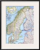 1963 Scandinavia Map Art