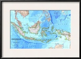 1996 Indonesia Map Posters