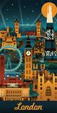Lantern Press- London Retro Skyline Posters by Lantern Press