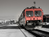 Red Old Train is Ready for His Journey. / Red Old Train is Waiting on Station. City of Split is in Photographic Print by  dreamer4787