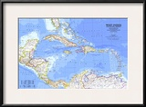 1981 West Indies and Central America Map Posters