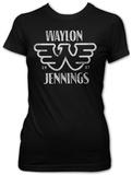 Juniors: Waylon Jennings- Distressed Logo T-Shirts