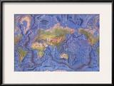 1981 World Ocean Floor Map Poster