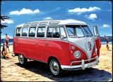 VW Samba Bus Beach Blikskilt
