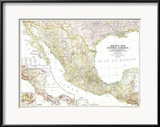 1953 Mexico and Central America Map Plakater