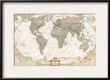 Spanish Executive World Map Prints