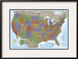 United States Political Map, Decorator Style Print