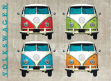VW Camper Colour Quad Tin Sign