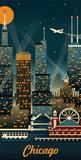 Lantern Press- Chicago Retro Skyline Posters by Lantern Press