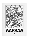 White Map of Warsaw Print by  NaxArt
