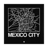 Black Map of Mexico City Premium Giclee Print by  NaxArt