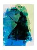 Darth Fighting Watercolor Prints by Lora Feldman