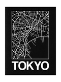 Black Map of Tokyo Poster by  NaxArt