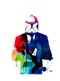 Boba in a Suit Watercolor Prints by Lora Feldman