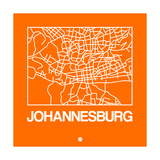 Orange Map of Johannesburg Posters af NaxArt
