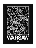 Black Map of Warsaw Prints by  NaxArt