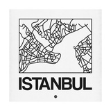White Map of Istanbul Premium Giclee Print by  NaxArt