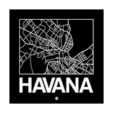 Black Map of Havana Prints by  NaxArt