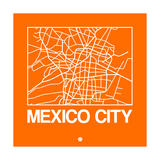 Orange Map of Mexico City Premium Giclee Print by  NaxArt