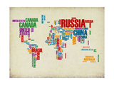 Typography World Map 3 Poster by  NaxArt