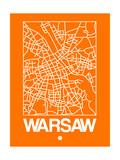 Orange Map of Warsaw Posters by  NaxArt