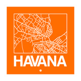 Orange Map of Havana Print by  NaxArt