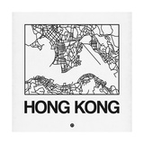 White Map of Hong Kong Art by  NaxArt