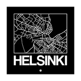 Black Map of Helsinki Posters by  NaxArt