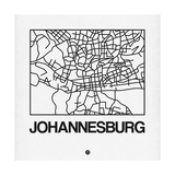 White Map of Johannesburg Posters af NaxArt