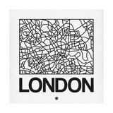 White Map of London Premium Giclee Print by  NaxArt