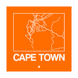 Orange Map of Cape Town Plakat af NaxArt