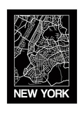 Black Map of New York Prints by  NaxArt