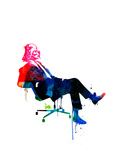 Darth in the Chair Watercolor Giclee-tryk i høj kvalitet af Lora Feldman