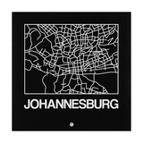Black Map of Johannesburg Plakater af NaxArt