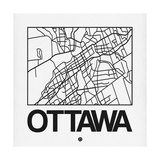 White Map of Ottawa Posters by  NaxArt