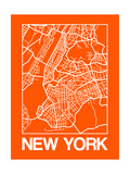 Orange Map of New York Poster by  NaxArt
