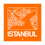 Orange Map of Istanbul Prints by  NaxArt