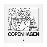 White Map of Copenhagen Posters by  NaxArt