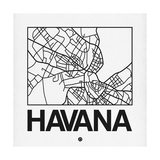 White Map of Havana Prints by  NaxArt