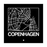 Black Map of Copenhagen Posters by  NaxArt