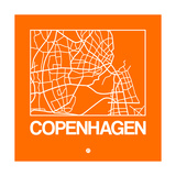Orange Map of Copenhagen Prints by  NaxArt