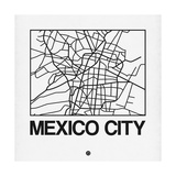 White Map of Mexico City Premium Giclee Print by  NaxArt