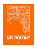 Orange Map of Melbourne Prints by  NaxArt