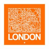 Orange Map of London Premium Giclee Print by  NaxArt