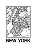 White Map of New York Prints by  NaxArt