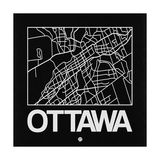 Black Map of Ottawa Art by  NaxArt