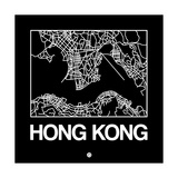 Black Map of Hong Kong Prints by  NaxArt