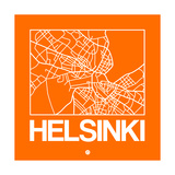 Orange Map of Helsinki Prints by  NaxArt
