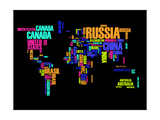 Typography World Map 2 Posters av  NaxArt