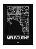 Black Map of Melbourne Posters by  NaxArt